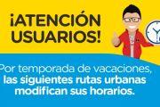 MODIFICACIÓN HORARIO DE OPERACIÓN DURANTE VACACIONES